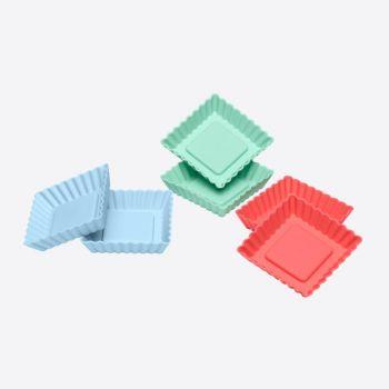 Lurch Flexiform 6 flanvormen uit silicone groen; blauw en rood 8.4x8.4x1.9cm