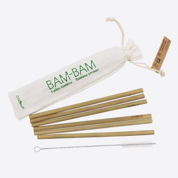 Cookut Bam Bam set van 6 rietjes uit bamboe en reinigingsborstel 20cm (20st./disp.)