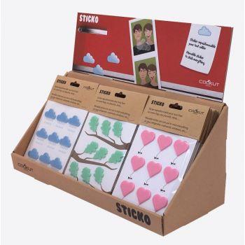 Cookut Sticko set van 9 stickers uit silicone hart; wolk of blad (18st./disp.)