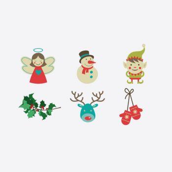 Cookut Tatoo Eat set van 6 verschillende bordtattoos Kerstmis