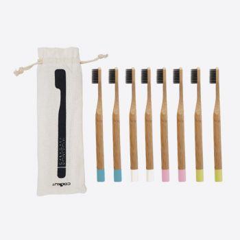 Cookut Bam Bam 8 bamboe tandenborstels roze; wit; blauw en groen (12st./disp.)