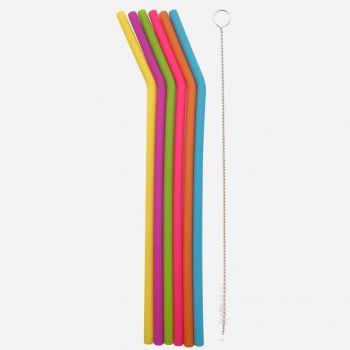 Dotz 6 gebogen silicone rietjes in verschillende kleuren met reinigingsborstel 25cm