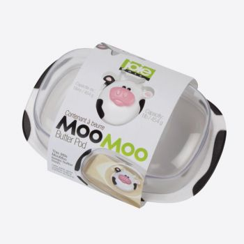 Joie Moo Moo boterschaal met deksel uit kunststof wit en zwart 18x12.3x9cm