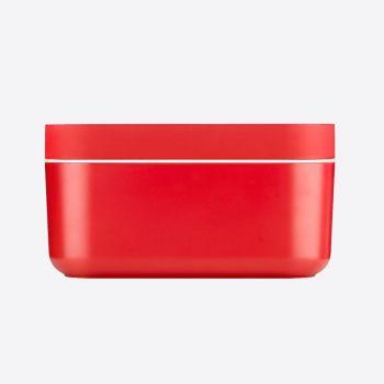 Lékué rechth. ijsemmer met ijsblokjesvorm uit silicone en ABS rood 22.5x12.5x11.6cm