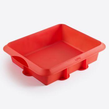 Lékué vierkante taartvorm uit silicone rood 24x20x6.5cm