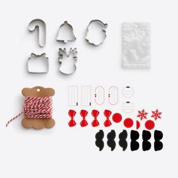 Lékué set voor kerstkoekjes met 5 uitsteekvormen; 20 plastic zakjes; touw en stickers