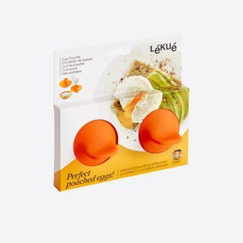 Lékué set van 2 eipocheerders uit silicone en rvs oranje 11x4.5x7cm