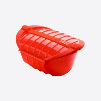 Lékué magnetron stomer voor 3-4 personen uit silicone rood 26x19x11.5cm