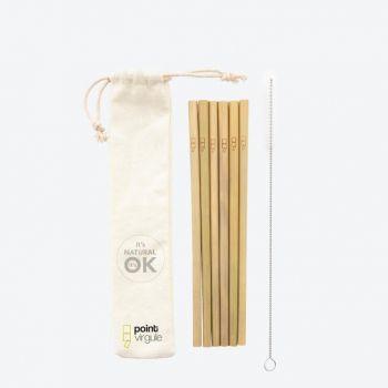 Point-Virgule set van 6 bamboe rietjes met reinigingsborstel en zakje 19.5cm