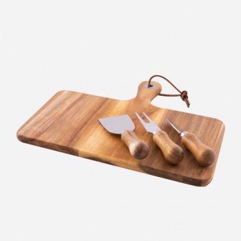 Point-Virgule 4-delige kaasset - messen en serveerplank uit acaciahout