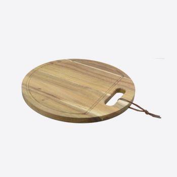 Point-Virgule ronde serveerplank met sapgeul uit acaciahout ø 30cm