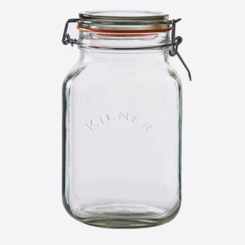 Kilner vierkante glazen bokaal met beugelsluiting 2L