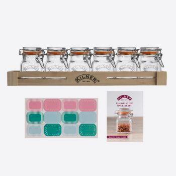 Kilner 20-delige set van 6 glazen kruidenpotjes en toebehoren