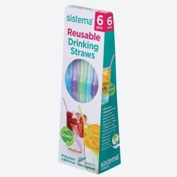 Sistema To Go set van 6 rietjes roze; paars; aquablauw; zwart; groen en blauw (per 12st.)
