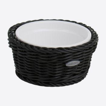 Saleen ronde gevlochten mand uit kunststof met porseleinen schaal zwart Ø 13cm