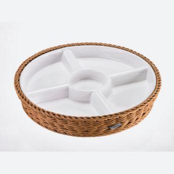 Saleen ronde gevlochten mand uit kunststof met porseleinen schaal beige Ø 28.5cm