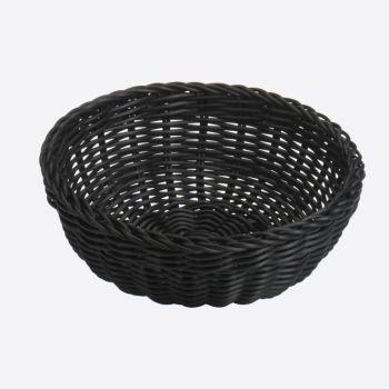 Saleen ronde gevlochten mand uit kunststof zwart Ø 23cm H 9cm