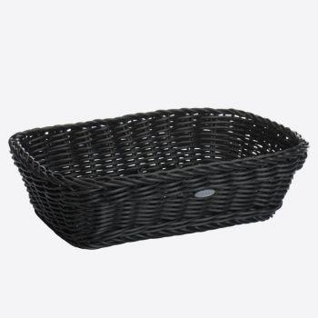 Saleen rechthoekige gevlochten mand uit kunststof zwart 31x21x9cm