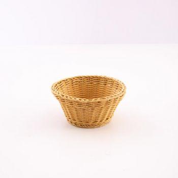 Saleen ronde gevlochten mand uit kunststof beige Ø 18cm H 10cm