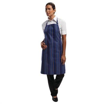 Chef Works verstelbare halterschort donkerblauw-blauw gestreept