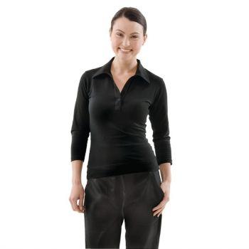 Uniform Works dames T-shirt met V-hals zwart L