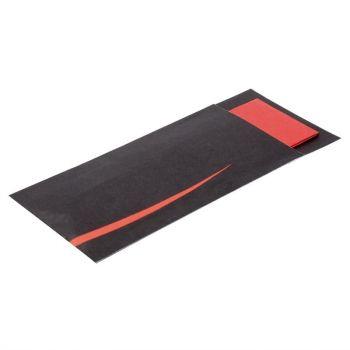 Europochette bestekzakjes met servet zwart en rood