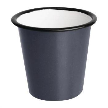 Olympia Emaille sauspotje grijs en zwart 11.4cl