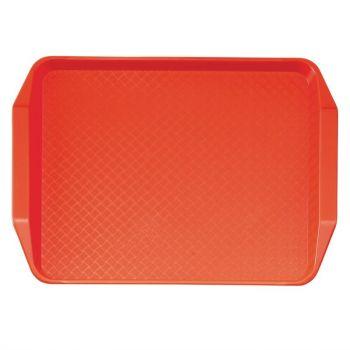 Cambro polypropyleen fastfood dienblad met handvatten rood 43x30cm