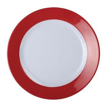 Kristallon Gala melamine borden met rode rand 23cm