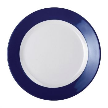 Kristallon Gala melamine borden met blauwe rand 19.5cm