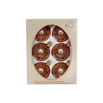 Cosy @ Home Kerstbal Set6 Pearl Praline 7cm Glas
