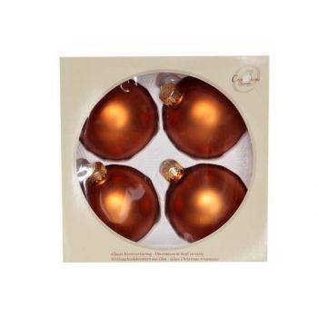 Cosy @ Home Kerstbal Set4 Mat Cognac D8cm Glas
