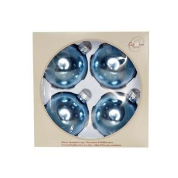 Cosy @ Home Kerstbal Set4 Shiny Silkblue D8cm Glas