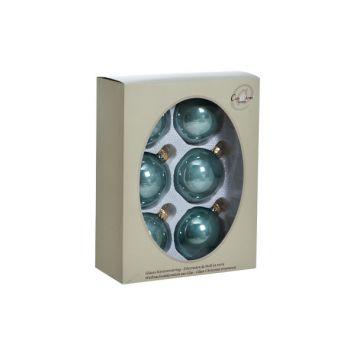 Cosy @ Home Kerstbal Set6 Pearl Eucalyptus 7cm Glas
