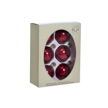 Cosy @ Home Kerstbal Set6 Pearl Bordeaux 7cm Glas
