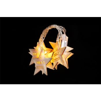 Cosy @ Home Xmas Ster Slinger 10led Hout 225x10cm