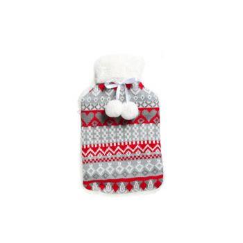 Cosy & Trendy Warmwaterkruik 2l Hoes Rood-grijs 20x34
