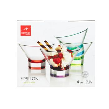 Bormioli Ypsilon Ijscoupes  Set 4 Assortie Kleur