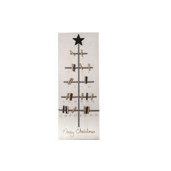 Cosy @ Home Memo Kerstboom Hout Wit Zwart 35x3.5x90