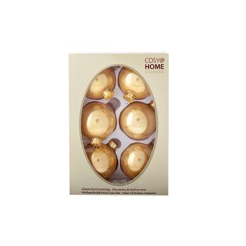 Cosy @ Home Kerstbal Set6 Pearl Toffee Goud 7cm Glas