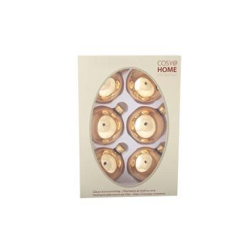 Cosy @ Home Kerstbal Set6 Shiny Toffee Goud 7cm Glas