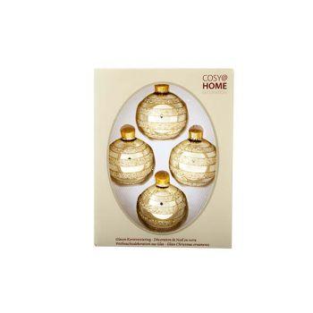 Cosy @ Home Kerstbal Glas Set4 Lichtgoud Glitte D7cm