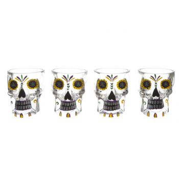 Cosy & Trendy Tiki Glas Doodskop Set4 D6,7x6,8cm