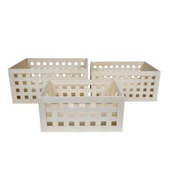 Cosy & Trendy Opbergboxen Set3 Gls Hout  Met Vierkant.