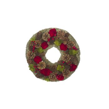 Cosy @ Home Krans  Rood-groen Rond Hout 33x33xh8,5 P
