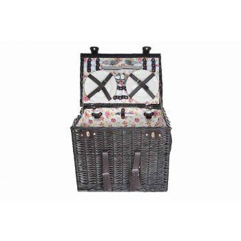 Cosy & Trendy Picknickmand 4p-4xbestek-wijnglazen-