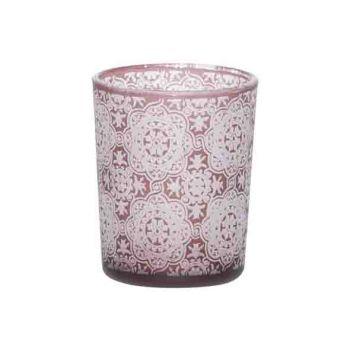 Cosy @ Home Theelichtglas Mandala Bordeaux 6x6xh7cm