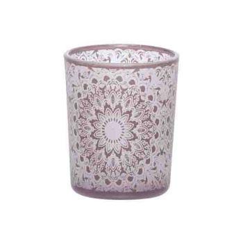 Cosy @ Home Theelichtglas Mandala Roze 6x6xh7cm