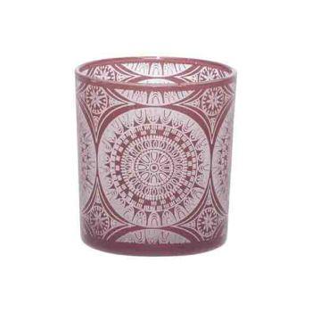 Cosy @ Home Theelichtglas Mandala Donkerrood 7x7xh8c