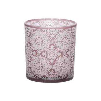 Cosy @ Home Theelichtglas Mandala Bordeaux 7x7xh8cm